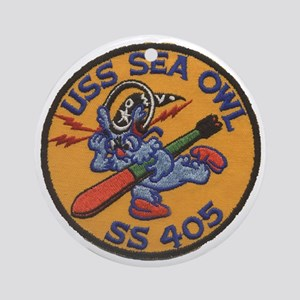 uss sea owl b patch transparent Round Ornament