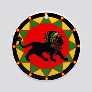 Jah King Rasta Lion Round Ornament