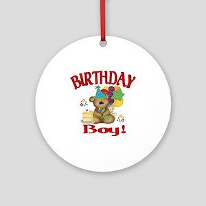 birthday boy bear Round Ornament
