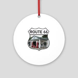 Route 66 - Amblers Texaco Gas Stati Round Ornament