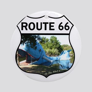 Discover History - Route 66 - Blue  Round Ornament