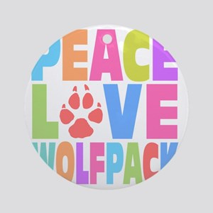 Peace Wolf Pack Round Ornament
