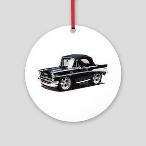 BabyAmericanMuscleCar_57BelR_Black Ornament (Round