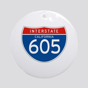 Interstate 605 - CA Ornament (Round)