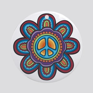 Hippie Peace Flower Ornament (Round)