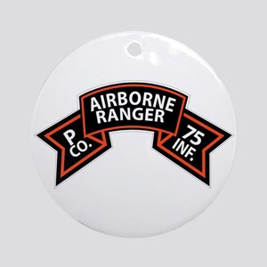 P Co 75th Infantry (Ranger) Scroll Ornament (Round