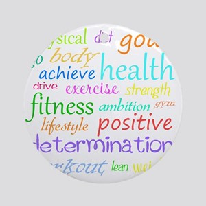 fitness words Round Ornament