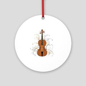 Violin Swirls (for dark colours) Round Ornament