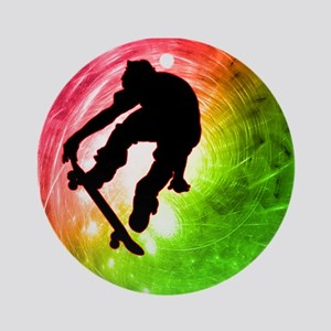 Skateboarder in a Psychedelic Ornament (Round)