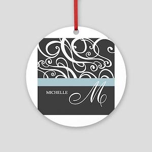 Elegant Grey White Swirls Monogram Ornament (Round