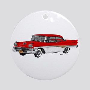 1958 Ford Fairlane 500 Red & White Ornament (Round