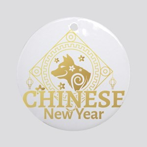Year Of The Dog 2018 Chinese New Ye Round Ornament