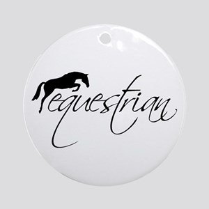 Equestrian w/ Jumping Horse Ornament (Round)