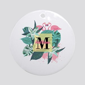 Personalized Flamingo Monogrammed Round Ornament