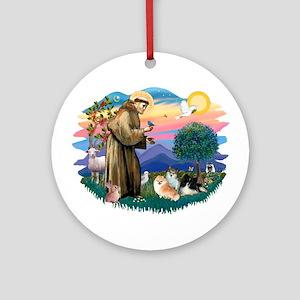 St Francis #2/Pomeranians(3) Ornament (Round)