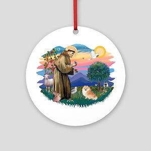 St Francis #2/ Pomeranian (r) Ornament (Round)
