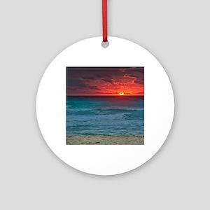 Sunset Beach Round Ornament