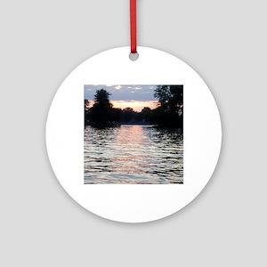 Indian lake Sunset Round Ornament