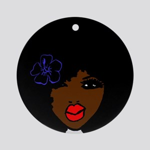 BrownSkin Curly Afro Natural Hair?? Round Ornament