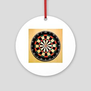 Dart in Bull's Eye on Dart Board Round Ornament