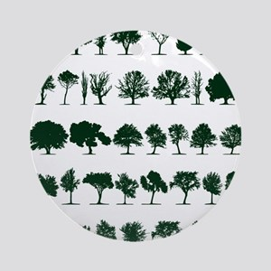 Tree Silhouettes Green 1 Round Ornament