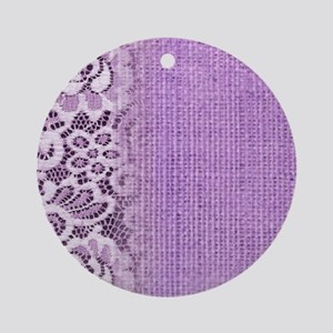 country chic purple burlap lace Round Ornament