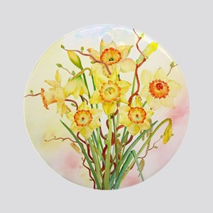 Watercolor Daffodils Yellow Spring  Round Ornament