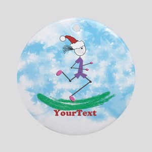 Customize Christmas Lady Runner Round Ornament