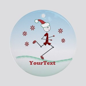 CUSTOMIZE Holiday Runner Guy Round Ornament