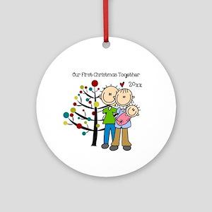 Custom Dad, Mom, Baby Girl Ornament (Round)