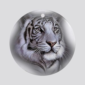 White Tiger Face Round Ornament