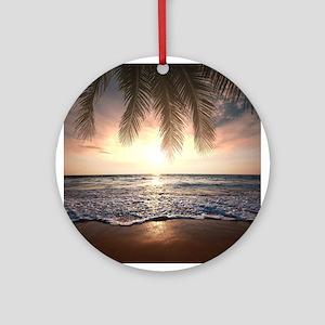 Tropical Beach Round Ornament