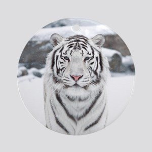 White Tiger Round Ornament