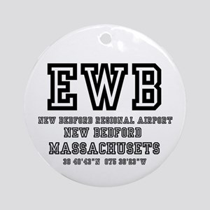 AIRPORT CODES - EWB - NEW BEDFORD, Round Ornament