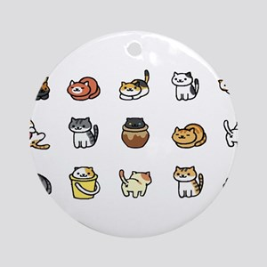 Neko Atsume Round Ornament