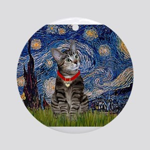 Starry Night / Tiger Cat Ornament (Round)