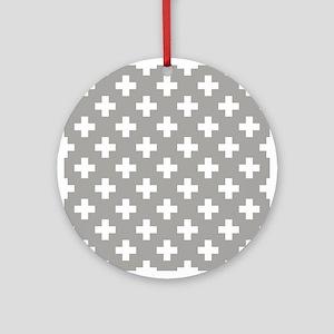 Grey Plus Sign Pattern Round Ornament