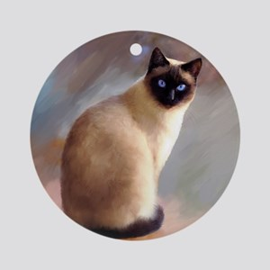 Cat 613 siamese Round Ornament
