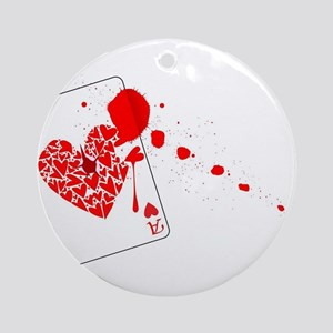 Ace of Hearts With Blood Round Ornament