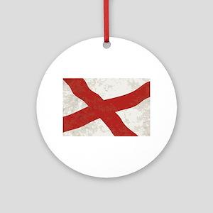 Alabama Sate Flag Grunge Round Ornament