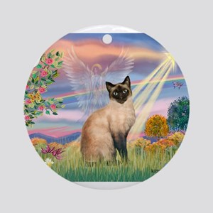 Cloud Angel & Siamese Ornament (Round)