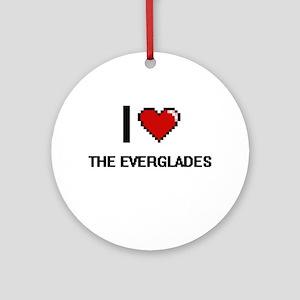 I love The Everglades digital desig Round Ornament