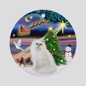 Xmas Magic & Persian cat (W) Ornament (Round)