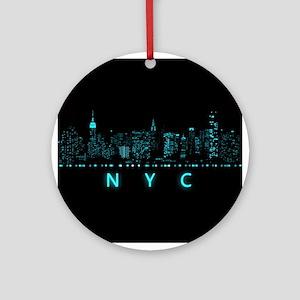 Digital Cityscape: New York City, N Round Ornament