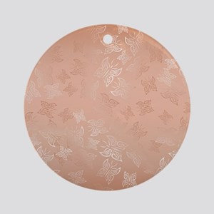 Rose Gold Butterflies Pattern Round Ornament