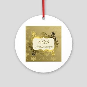 Fancy 60th Wedding Anniversary Ornament (Round)