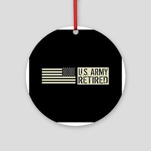 U.S. Army: Retired (Black Flag) Round Ornament