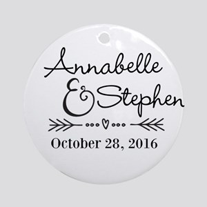Couples Names Wedding Personalized Round Ornament