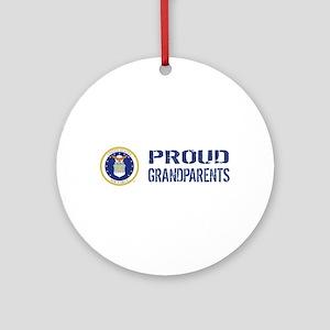 USAF: Proud Grandparents Round Ornament