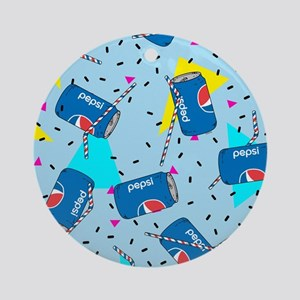 Pepsi Can Pattern Round Ornament